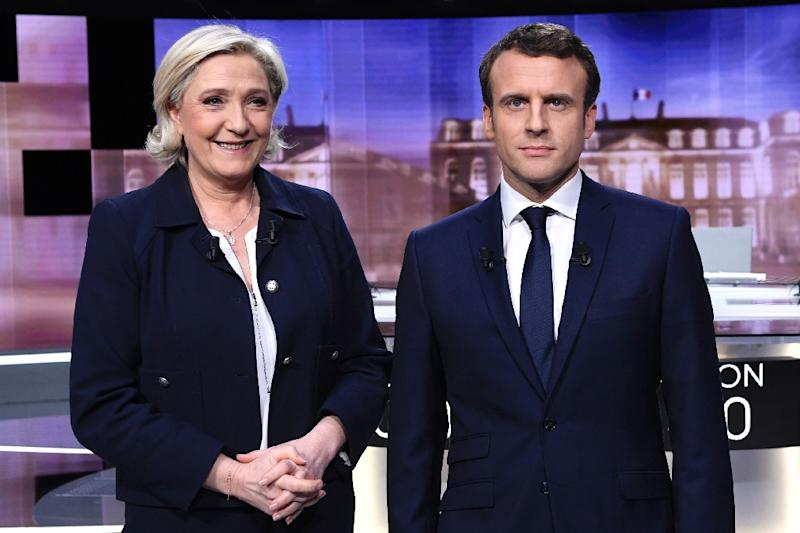 French presidential election candidates centrist Emmanuel Macron of the En Marche movement (R) and Marine Le Pen of the far-right National Front (FN) party went head to head in a television debate ahead of Sunday's second round vote