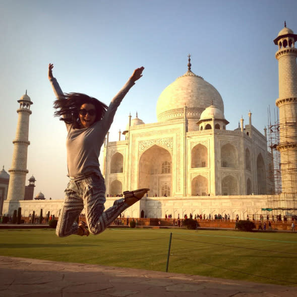 "<p>Longoria gets around — she should have her own travel show. Last December in India, she stopped by — make that jumped by — the Taj Mahal. (Photo: <a rel=""nofollow"" href=""https://www.instagram.com/p/_W69BTCGmW/"">Instagram</a>) </p>"