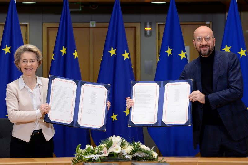 Brexit trade agreement is signed in Brussels