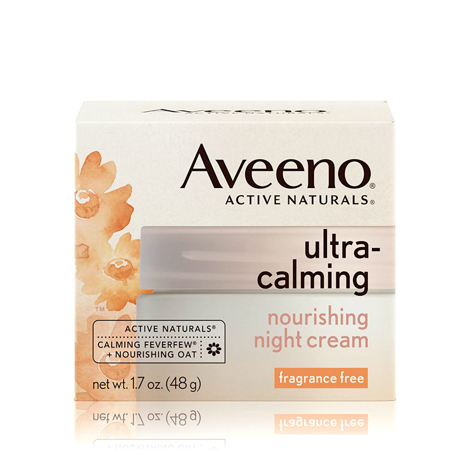 """<p>Aveeno's Ultra-Calming Nourishing Night Cream is a great option for sensitive skin types, thanks to its fragrance-free, colloidal oatmeal-packed formula, and it can be found at most drugstores near you. Sounds like a win-win to us.</p> <p><strong>$19</strong> (<a href=""""https://shop-links.co/1650276202677829472"""" rel=""""nofollow noopener"""" target=""""_blank"""" data-ylk=""""slk:Shop Now"""" class=""""link rapid-noclick-resp"""">Shop Now</a>)</p>"""