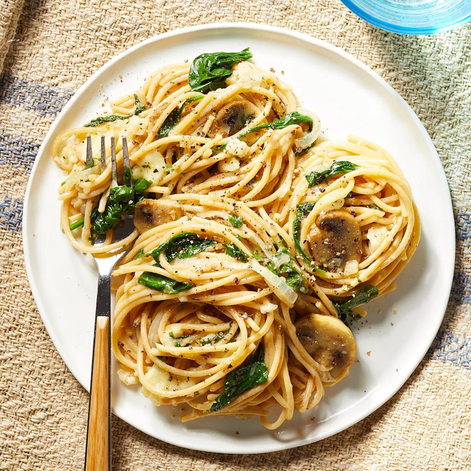 <p>Melted Brie cheese coats pasta and roasted veggies in this rich vegetarian pasta dish. White balsamic vinegar adds tang and a hint of sweetness in this easy weeknight dinner.</p>