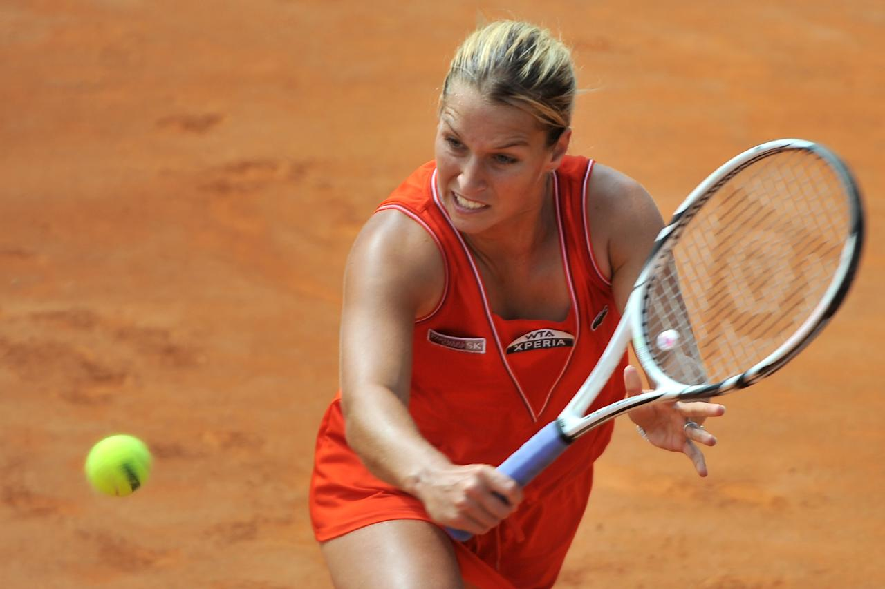 Slovakia's Dominika Cibulkova returns a ball to China's Na Li during their quarter-finals match of the WTA Rome tournament on May 18, 2012.  Na Li defeated Cibulkova  6-1, 7-6 (7/4).  AFP PHOTO / GABRIEL BOUYSGABRIEL BOUYS/AFP/GettyImages