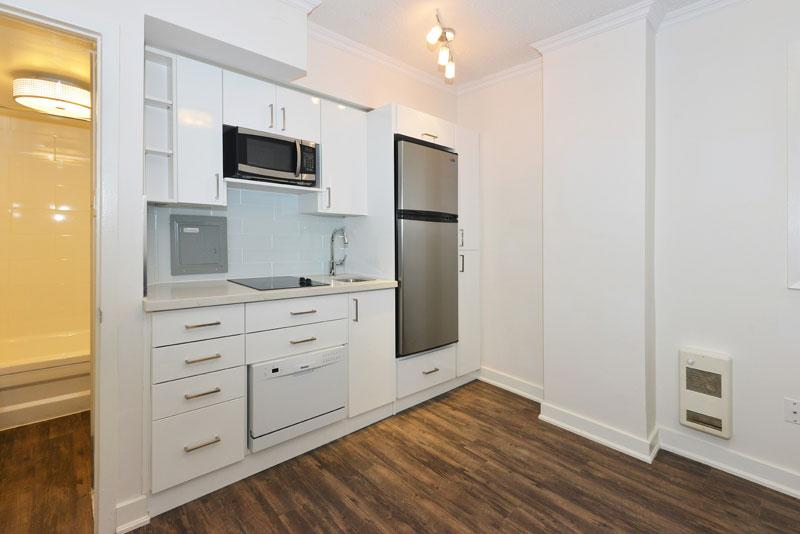 The kitchen of a 200-square-foot apartment at 40 Beaty Street in Toronto.