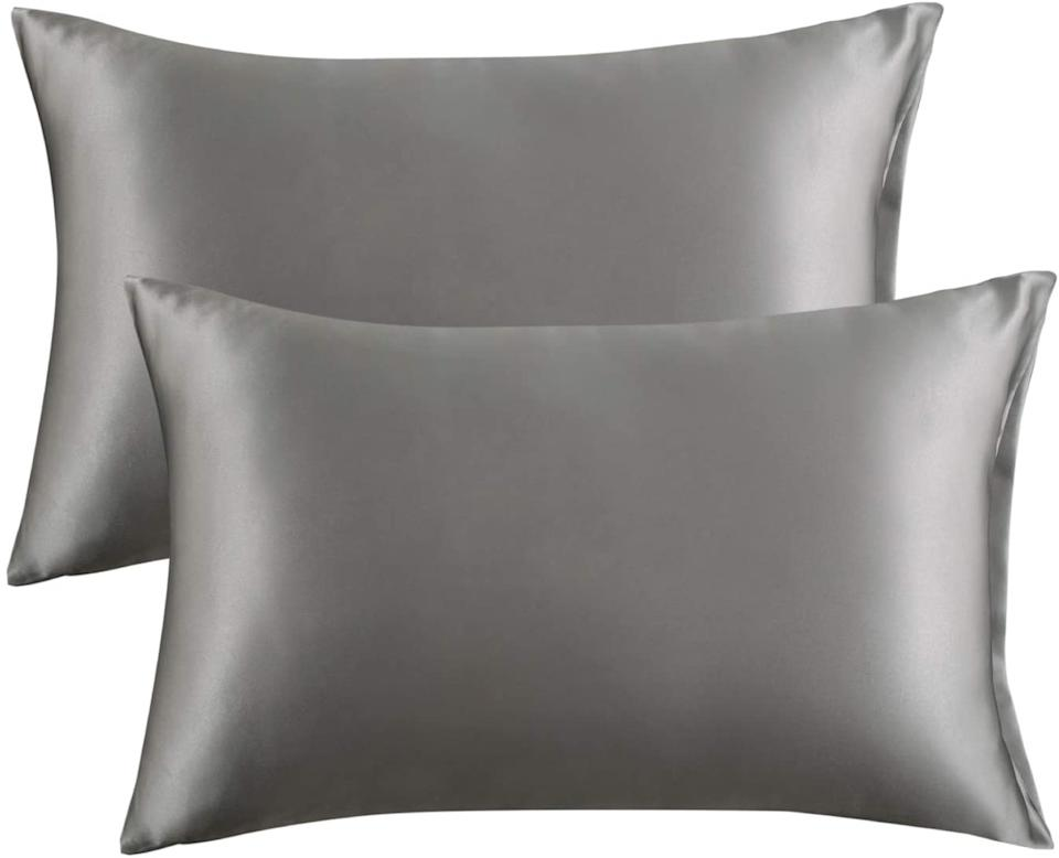 Bedsure Satin Pillowcase for Hair and Skin, 2-Pack in dark grey. Image via Amazon.