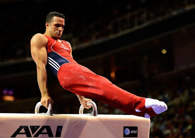 SAN JOSE, CA - JUNE 30: Danell Leyva competes on the pommel horse during day 3 of the 2012 U.S. Olympic Gymnastics Team Trials at HP Pavilion on June 30, 2012 in San Jose, California. (Photo by Ronald Martinez/Getty Images)