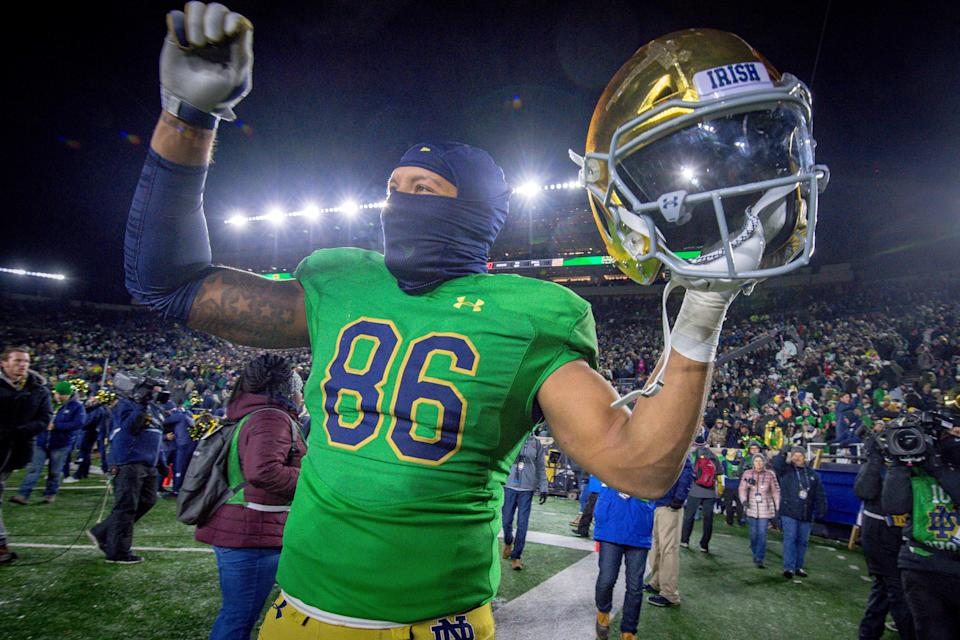 Notre Dame tight end Alize Mack celebrates after defeating Florida State, Nov. 10, 2018 in South Bend.