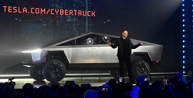 Nov 21, 2019; Hawthorne, CA, U.S.A; Tesla CEO Elon Musk unveils the Cybertruck at the TeslaDesign Studio in Hawthorne, Calif. The cracked window glass occurred during a demonstration on the strength of the glass. Mandatory Credit: Robert Hanashiro-USA TODAY