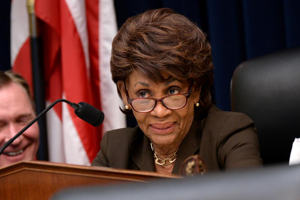 """REFILE - CORRECTING STATE OF REPRESENTATION??U.S. Representative and Chairwoman of House Financial Services Committee Maxine Waters (D-CA) speaks during Federal Reserve Board Chairman Jerome Powell's testimony in a House Financial Services Committee hearing on """"Monetary Policy and the State of the Economy"""" in Washington, U.S. July 10, 2019. REUTERS/Erin Scott"""