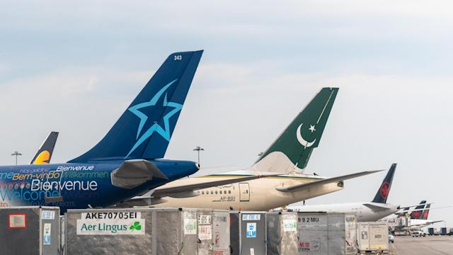 Tail wings of diverse planes in Pearson International Airport. (Getty Images)