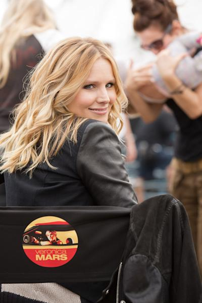 """This image released by Warner Bros. Pictures shows Kristen Bell on the set of """"Veronica Mars."""" It took 91,585 Kickstarter backers and their $5.7 million to make it happen, but the cult, canceled TV show """"Veronica Mars"""" has been reborn on the big screen. As the first major Hollywood use of Kickstarter, the project has been an unlikely force of innovation, and kicked up a host of questions about crowd-funding and the movie business. (AP Photo/Warner Bros. Pictures, Robert Voets)"""