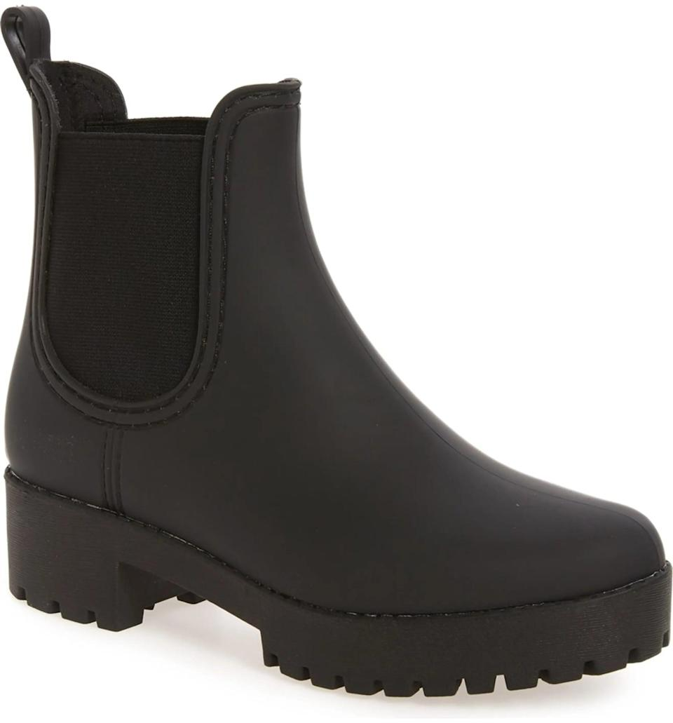<p>These <span>Jeffrey Campbell Cloudy Waterproof Chelsea Rain Boots</span> ($65) are so versatile.</p>