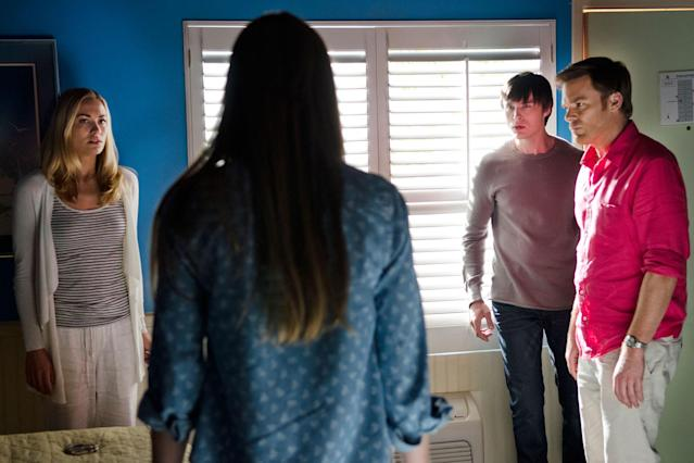 "Yvonne Strahovski as Hannah McKay, Jennifer Carpenter as Debra Morgan, Sam Underwood as Zach Hamilton, and Michael C. Hall as Dexter Morgan in the ""Dexter"" Season 8 episode, ""Are We There Yet?"""