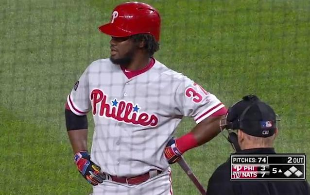 Obudel Herrera questions umpire Jeff Kellogg after being rung up on a Max Scherzer quick pitch during Friday's game. (MLB.TV)