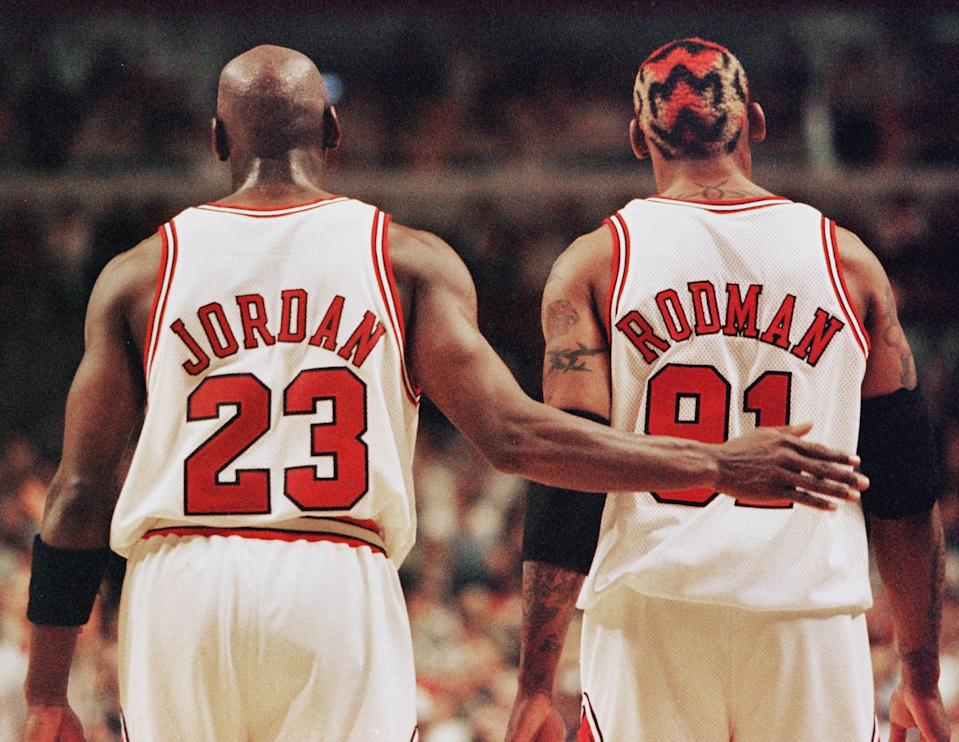 Michael Jordan had to travel to Las Vegas to bring Dennis Rodman back to the Chicago Bulls. (Jeff Haynes/AFP via Getty Images)