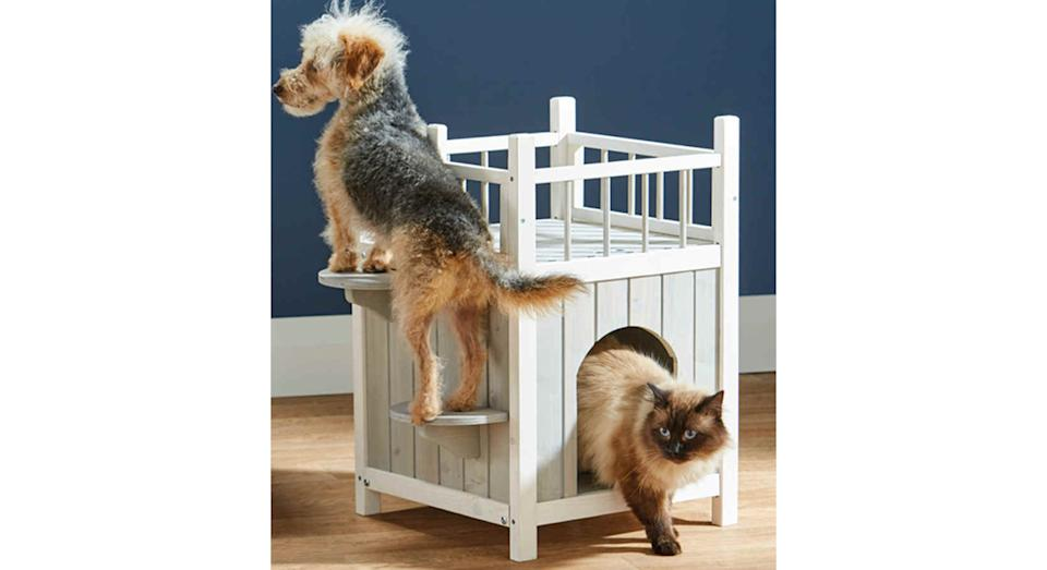 The Pet House with Balcony can be used inside or outside the home. (Aldi)