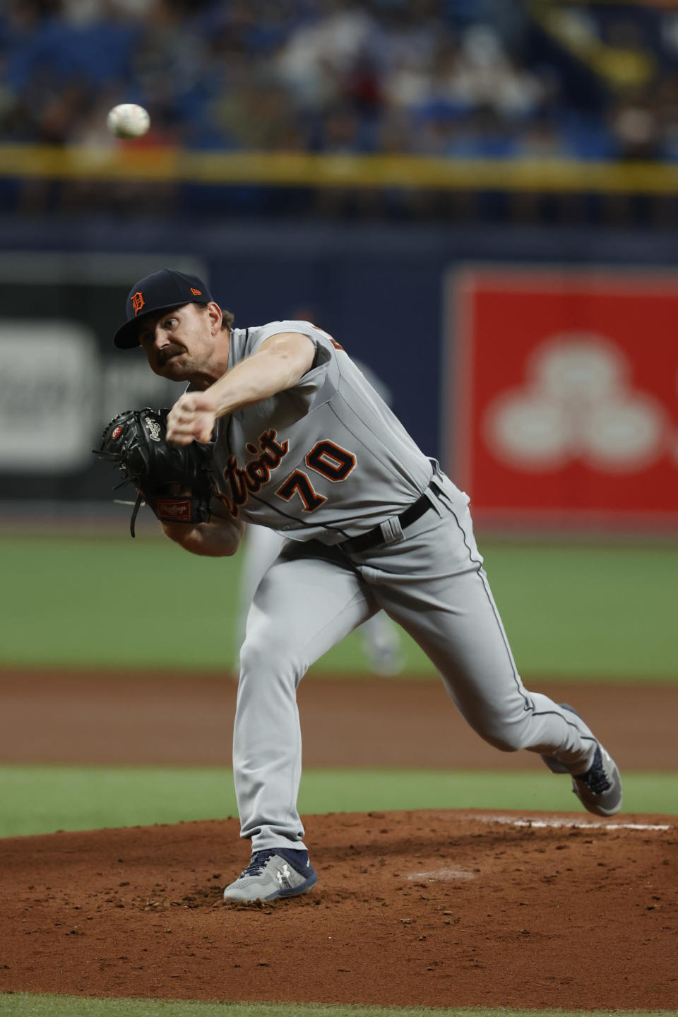 Detroit Tigers pitcher Tyler Alexander works from the mound against the Tampa Bay Rays during the first inning of a baseball game on Thursday, Sept. 16, 2021, in St. Petersburg, Fla. (AP Photo/Scott Audette)