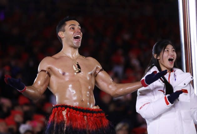 Tonga's Pita Taufatofua reacts during the closing ceremony of the 2018 Winter Olympics in Pyeongchang, South Korea on Feb. 25, 2018.