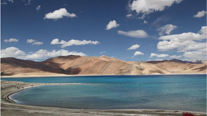 Pangong Tso lake in Ladakh - scene of earlier reported scuffles in recent weeks