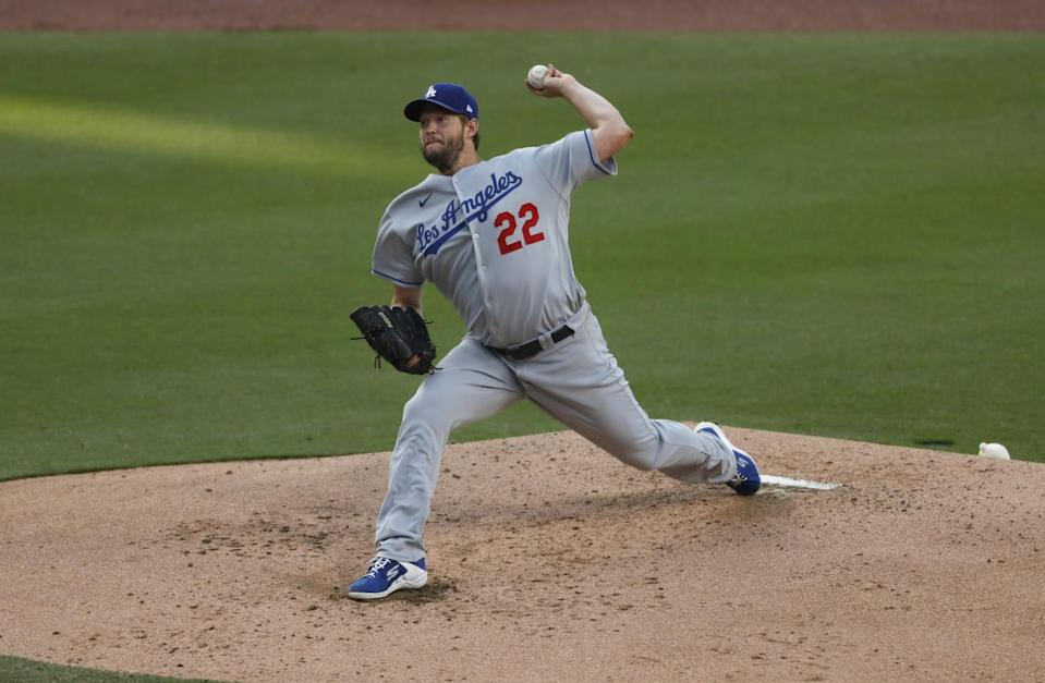 Dodgers starter Clayton Kershaw pitched six scoreless innings Saturday night, giving up two hits.