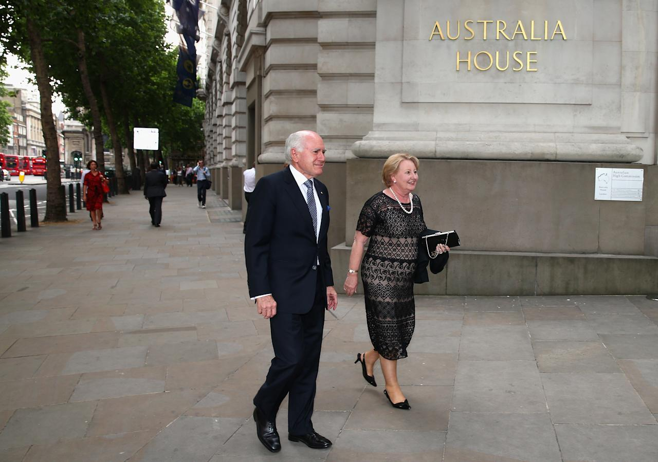 LONDON, ENGLAND - JULY 16:  John Howard and Janette Howard arrive for the Australian Cricket Team visit to the Australian High Commision on July 16, 2013 in London, England.  (Photo by Ryan Pierse/Getty Images)