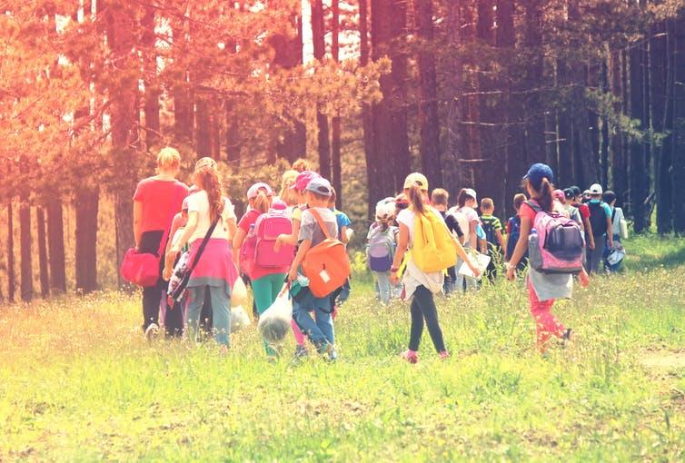 """<span class=""""caption"""">Teachers are taking pupils into local natural areas to learn curriculum-based subjects.</span> <span class=""""attribution""""><a class=""""link rapid-noclick-resp"""" href=""""https://www.shutterstock.com/image-photo/kids-nature-strolling-544696594?src=sU1R_267KV-iDaIDN6p6aQ-1-1"""" rel=""""nofollow noopener"""" target=""""_blank"""" data-ylk=""""slk:springtime78/Shutterstock"""">springtime78/Shutterstock</a></span>"""