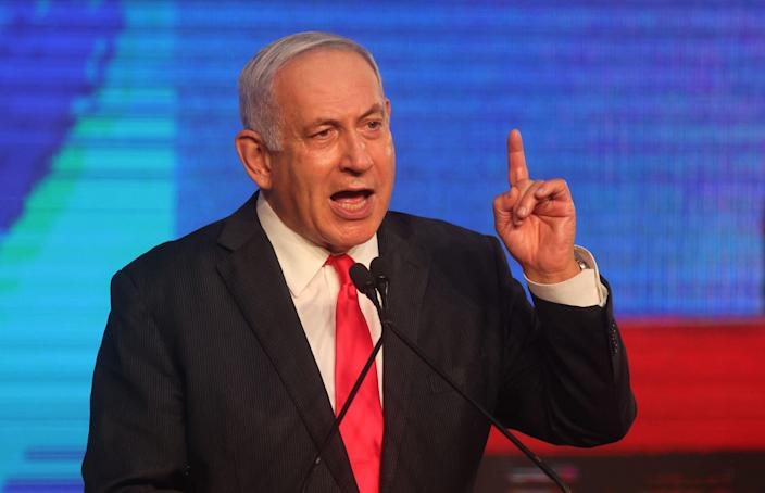 Netanyahu addresses supporters at the party campaign in Jerusalem earlier this year (AFP/Getty)