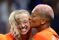 Jackie Groenen of the Netherlands celebrates after scoring her team's first goal with teammate Danielle Van De Donk during the 2019 FIFA Women's World Cup France Semi Final match between Netherlands and Sweden at Stade de Lyon on July 03, 2019 in Lyon, France. (Photo by Catherine Ivill - FIFA/FIFA via Getty Images)