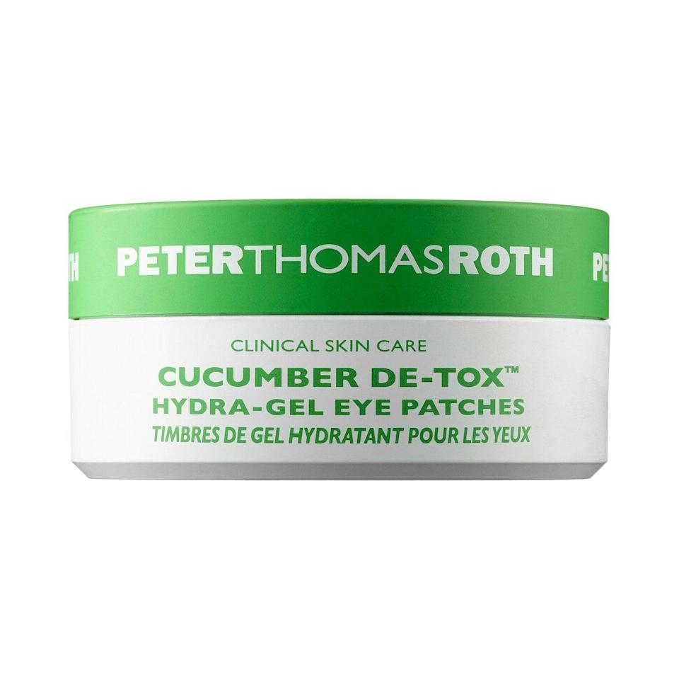 """<h2>Peter Thomas Roth Cucumber De-Tox Hydra-Gel Eye Masks</h2><br>Skip the produce aisle and put on these cucumber-infused hydra-gel masks, which help reduce the appearance of crow's feet and inflammation.<br><br><strong>Peter Thomas Roth</strong> Cucumber De-Tox™ Hydra-Gel Eye Patches, $, available at <a href=""""https://go.skimresources.com/?id=30283X879131&url=https%3A%2F%2Fwww.sephora.com%2Fproduct%2Fcucumber-de-tox-hydra-gel-eye-patches-P412025"""" rel=""""nofollow noopener"""" target=""""_blank"""" data-ylk=""""slk:Sephora"""" class=""""link rapid-noclick-resp"""">Sephora</a>"""