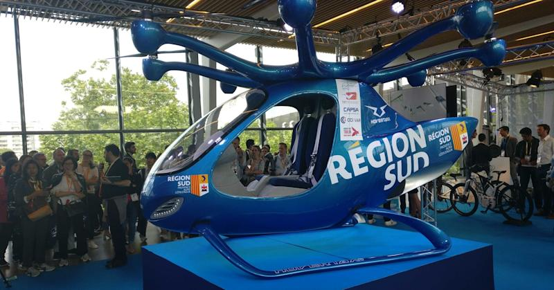 An electric air taxi developed by French firm HOVERTAXI makes a showing at the Viva Technology conference in Paris.