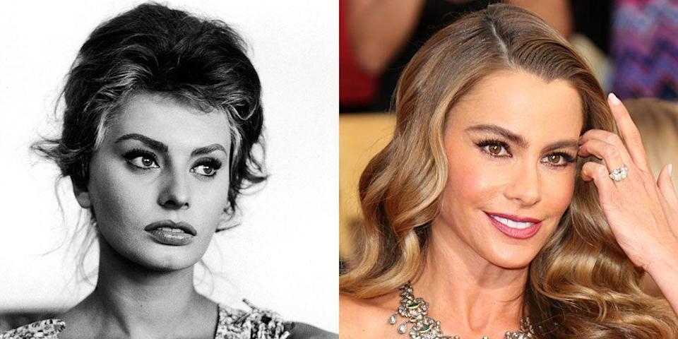 <p>Both in looks and persona, Sofia Vergara is Sophia Loren's modern day counterpart. Given their sultry looks, it's no surprise the two women became sexy screen sirens. </p>