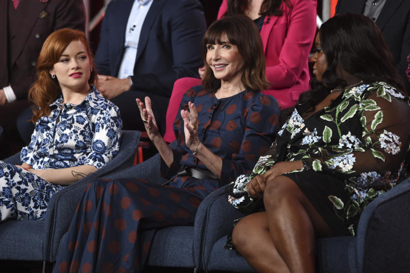 "FILE - In this Jan. 11, 2020, file photo, Mary Steenburgen, center, a cast member in the NBCUniversal series ""Zoey's Extraordinary Playlist,"" discusses the show alongside fellow cast members Jane Levy, left, and Alex Newell at the 2020 NBCUniversal Television Critics Association Winter Press Tour, in Pasadena, Calif. Levy stars as Zoey, a computer coder who hears people's private thoughts through pop songs, in the series airing 9 p.m. EST  Sunday, Feb. 16, on NBC. (AP Photo/Chris Pizzello, File)"