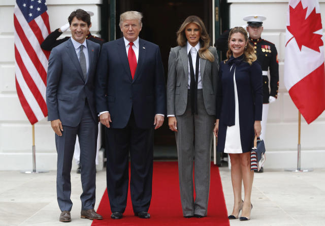 Melania Trump, President Trump, and Canadian Prime Minister Justin Trudeau and his wife, Sophie Grégoire Trudeau. (Photo: AP)