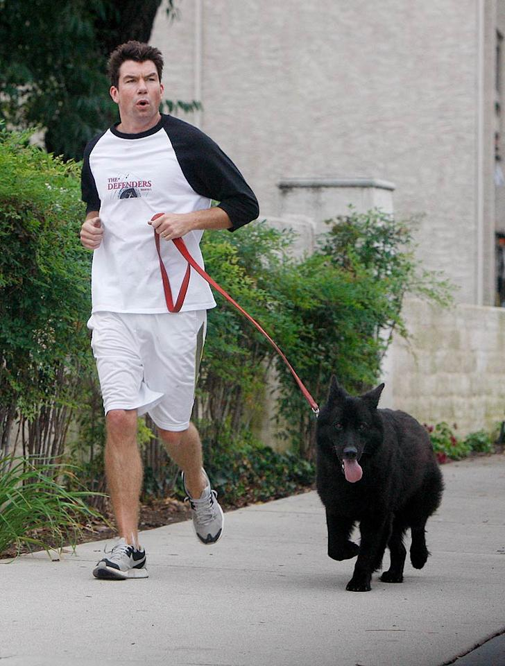 "With wife Rebecca Romijn looking after their twins (Dolly and Charlie), Jerry O'Connell goes for a run with his adorable dog Bim in Calabasas, California. <a href=""http://www.infdaily.com"" target=""new"">INFDaily.com</a> - October 15, 2010"