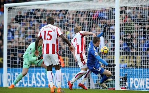 """In the end, Jack Butland's outstanding saves probably earned Stoke City a point in the face of a late Leicester City onslaught. Yet the 24-year-old goalkeeper with aspirations to be England's No 1 in Russia this summer would have found it hard to take his mind off the blunder that handed Leicester a freak equaliser. It came after Xherdan Shaqiri's third goal in as many matches had given Stoke City a lead they looked capable of defending successfully. Although he is favourite to take the jersey in England's opening match against Tunisia in Volgograd on June 18 if Joe Hart fails to regain his first-team place at West Ham United, Butland's experience at the top level is limited to only two competitive appearances for the national team since his debut in 2012. Gareth Southgate, the manager, will also be weighing up the credentials of Southampton's Fraser Forster, Everton's Jordan Pickford and Burnley's fit-again Tom Heaton – not to mention his Turf Moor stand-in Nick Pope. So Butland can ill afford to make the kind of error he committed on Saturday, when he was distracted by Leicester's Jamie Vardy and team-mate Moritz Bauer as Marc Albrighton fired a waist-high cross into the six-yard box, failed to make the catch and saw the ball bounce off his chest and into the net. Jack Butland scores an own goal Credit: GETTY IMAGES Two fine subsequent saves – from Riyad Mahrez and Harry Maguire – would have helped limit the damage to his confidence, although there was no undoing what had happened. At least there were some consoling words from the dressing room afterwards, albeit from a Welshman and a Scot. Paul Lambert, his Glaswegian manager, insisted Butland will bounce back quickly. """"He doesn't walk around like some big-time guy who thinks he owns the place but he has self-belief, he is strong mentally,"""" Lambert said. """"Will it be the first and last mistake he makes? Probably not. But it is how you react that is important and you saw that in the saves he made."""" Wales internatio"""