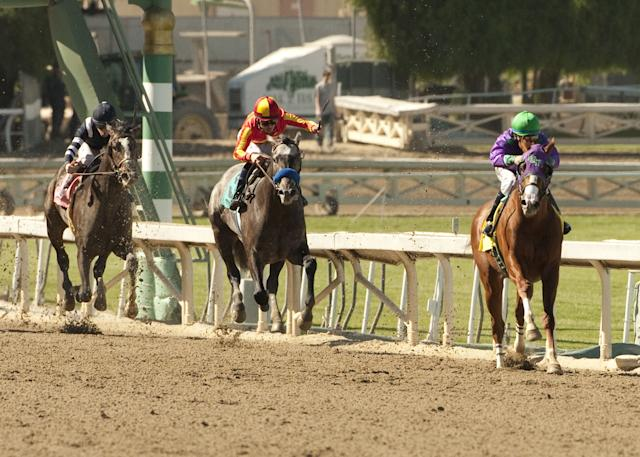 In this image provided by Benoit Photo, California Chrome, right, ridden by Victor Espinoza, leads wire-to-wire to win the San Felipe Stakes horse race Saturday, March 8, 2014 at Santa Anita Park in Arcadia, Calif. (AP Photo/Benoit Photo) ©Benoit Photo
