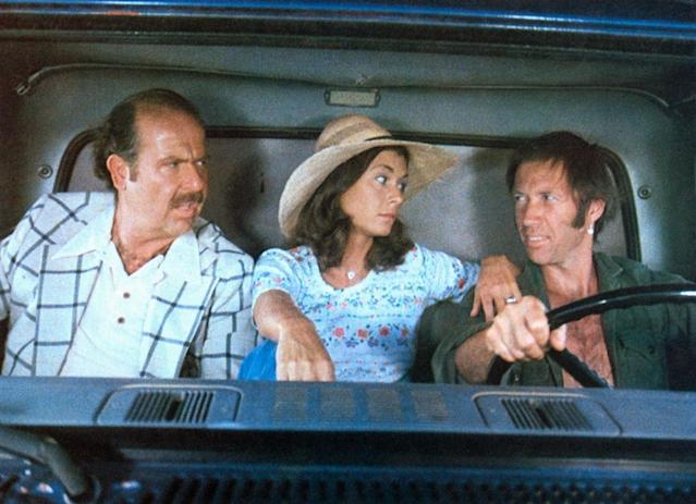 <p>Not content to let <em>Smokey and the Bandit</em> have all the car-crashing fun, producer Roger Corman closed out the summer with David Carradine and Kate Jackson hitting the road as a pair of moonshine runners trying to stay one step ahead of the law and the moonshine mob. (Photo: Everett)<br></p>