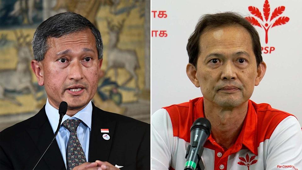 Foreign Minister Vivian Balakrishnan (L) apologised to Non-Constituency Member of Parliament Leong Mun Wai for remarks made in Parliament on Tuesday, 14 September 2021 (PHOTOS: Getty Images, Yahoo News Singapore file photo)