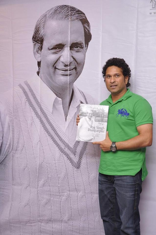 Cricket player Sachin Tendulkar during the launch of book Raj Singh Dungarpur - A Tribute in Mumbai on July 25, 2014. (Photo: IANS)0