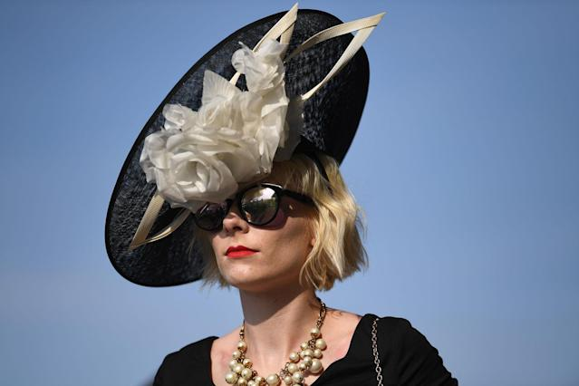 <p>Extravagant hats are the order of the day in the Royal Enclosure on the opening day of Royal Ascot at Ascot Racecourse on June 20, 2017 in Ascot, England. (Mike Hewitt/Getty Images) </p>