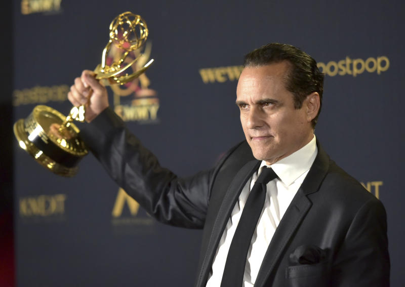 "Maurice Benard poses in the press room with the award for outstanding lead actor in a drama series for ""General Hospital"" at the 46th annual Daytime Emmy Awards at the Pasadena Civic Center on Sunday, May 5, 2019, in Pasadena, Calif. (Photo by Richard Shotwell/Invision/AP)"