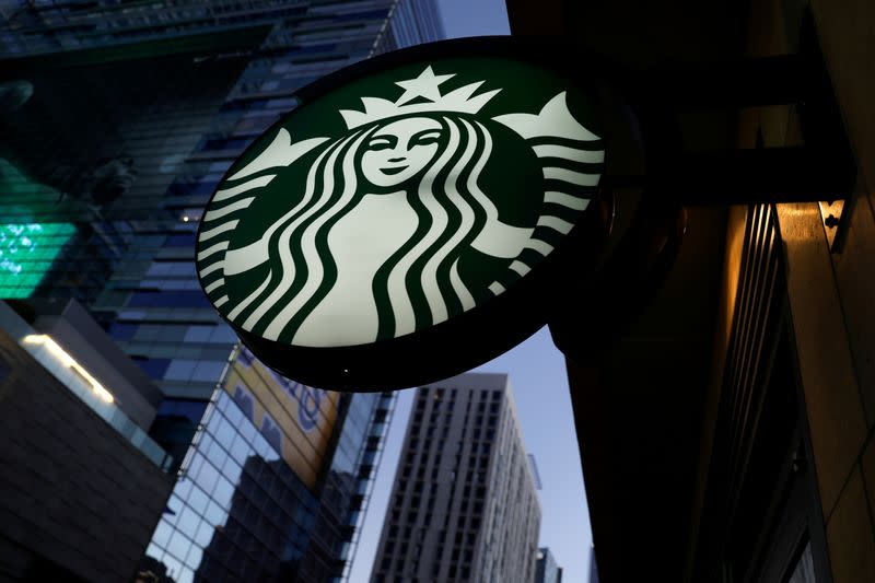 FILE PHOTO: A Starbucks sign is shown on one of the company's stores in Los Angeles