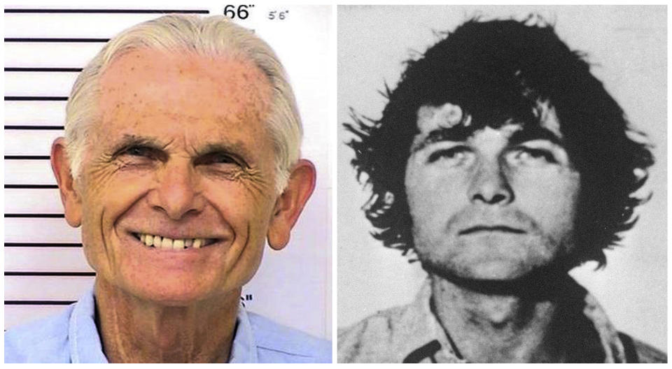 FILE - This combination of file shows Bruce Davis, left, in a March 12, 2014 photo provided by the California Department of Corrections and Rehabilitation and at right in a 1970 photo. Davis was convicted of taking part in the Hinman and Shea murders but was not involved in the Tate-LaBianca killings. He testified at his 2014 parole hearing that he attacked Shea with a knife and held a gun on Hinman while Charles Manson cut Hinman's face with a sword. Parole panels have repeatedly recommended his release but the governor has blocked it. (Files via AP)
