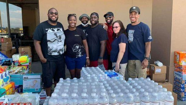 PHOTO: Samuel Mamou poses with fellow volunteers who stepped up to help after Hurricane Ida hit Louisiana. (Kristen Mamou)
