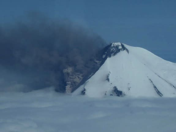 A photograph of Alaska's Mount Pavlof volcano erupting on May 31, 2014.