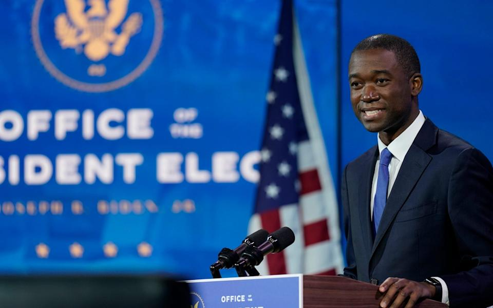 Wally Adeyemo, who President-elect Joe Biden nominated to serve as Deputy Secretary of the Treasury, speaks at The Queen theater - AP