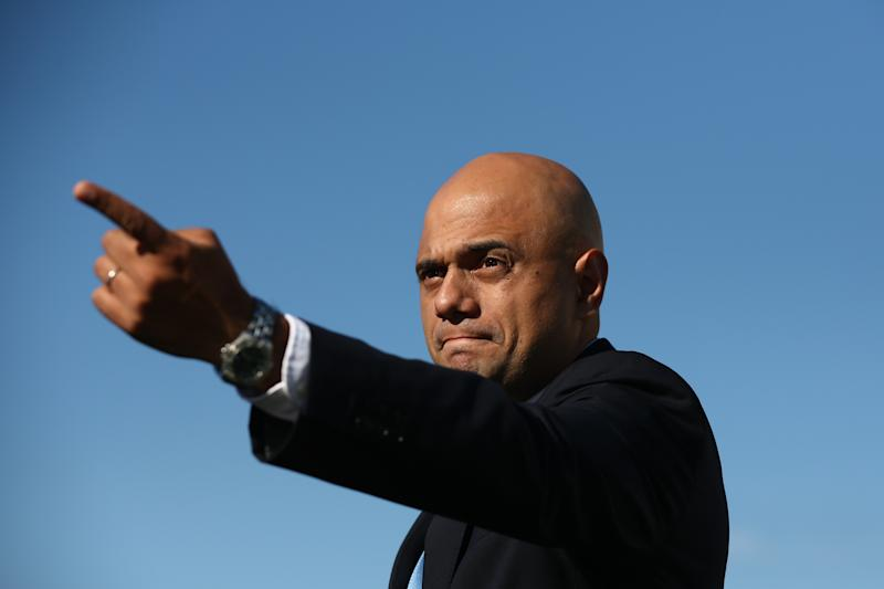 Sajid Javid gestures after a photocall. Photo: Carl Court/Getty Images