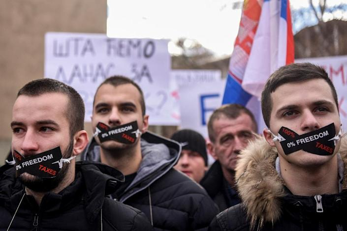 The army vote comes during a low point in relations between Kosovo and Serbia. Tensions surged in November when Kosovo slapped Serbian goods with a 100 percent tariff, sparking protests over the taxes (AFP Photo/Armend NIMANI)