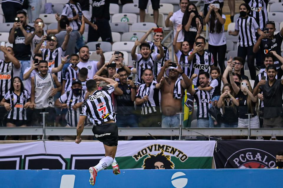 BELO HORIZONTE, BRAZIL - OCTOBER 9: Hulk of Atletico MG celebrates a scored goal against Ceara during a match between Atletico MG and Ceara as part of Brasileirao 2021 at Mineirao Stadium on October 9, 2021 in Belo Horizonte, Brazil.  (Photo by Pedro Vilela/Getty Images)