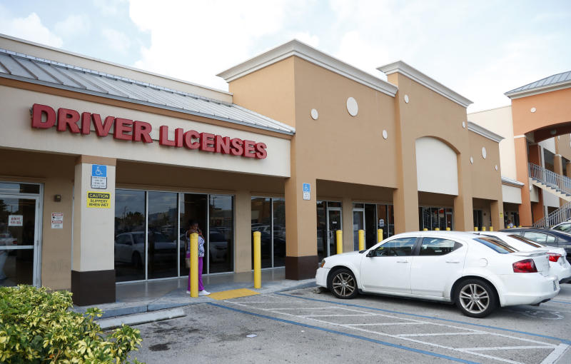 A Florida Highway Safety and Motor Vehicles drivers license service center is shown, Tuesday, Oct. 8, 2019, in Hialeah, Fla. The U.S. Census Bureau has asked the 50 states for drivers' license information, months after President Donald Trump ordered the collection of citizenship information. (AP Photo/Wilfredo Lee)