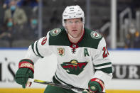 FILE - Minnesota Wild's Ryan Suter plays during the second period of an NHL hockey game against the St. Louis Blues in St. Louis, in this Friday, April 9, 2021, file photo. Ryan Suter became the first player to sign a new contract when NHL free agency began Wednesday, July 28, 2021, joining the Dallas Stars on a $14.6 million, four-year deal. (AP Photo/Jeff Roberson, File)